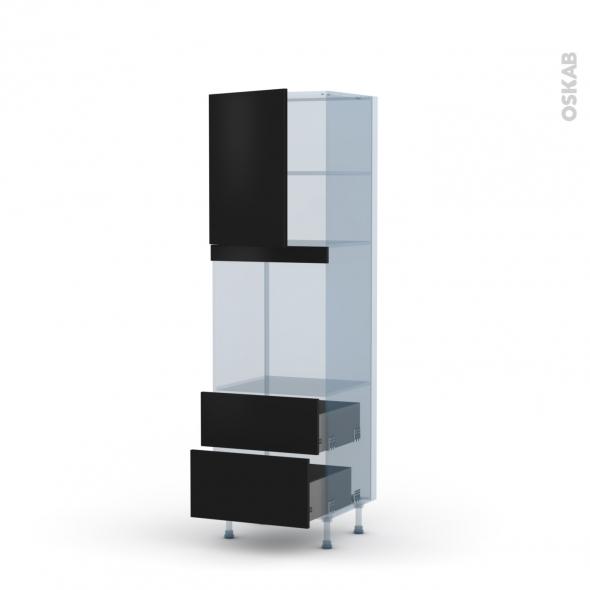 GINKO Noir - Kit Rénovation 18 - Colonne Four niche 60 N°2158 - 1 porte 2 casseroliers - L60xH195xP60