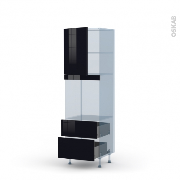 KERIA Noir - Kit Rénovation 18 - Colonne Four niche 60 N°2158 - 1 porte 2 casseroliers - L60xH195xP60