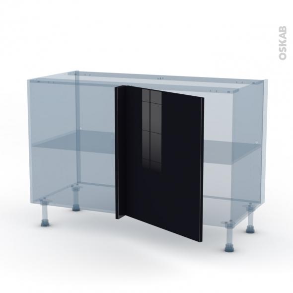 KERIA Noir - Kit Rénovation 18 - Meuble angle bas - 1 porte N°21 L60 - L120xH70xP60