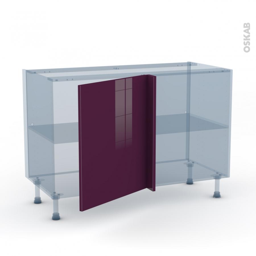 Keria aubergine kit r novation 18 meuble angle bas 1 porte for Kit fixation meuble haut cuisine