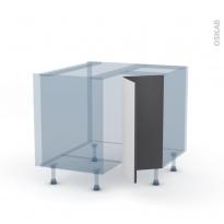 GINKO Gris - Kit Rénovation 18 - Meuble angle bas - 2 portes N°76 L30 - L90xH70xP60
