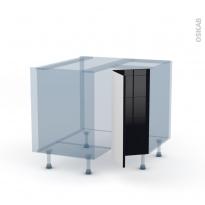 KERIA Noir - Kit Rénovation 18 - Meuble angle bas - 2 portes N°76 L30 - L90xH70xP60