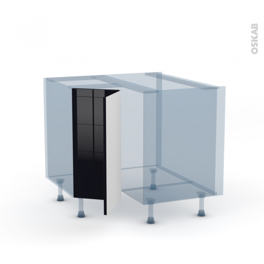 Keria noir kit r novation 18 meuble angle bas 2 portes n for Porte cuisine 30 x 60