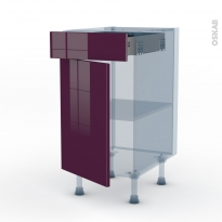 KERIA Aubergine - Kit Rénovation 18 - Meuble bas cuisine  - 1 porte 1 tiroir - L40xH70xP60