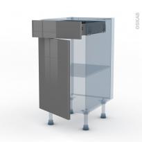 STECIA Gris - Kit Rénovation 18 - Meuble bas cuisine  - 1 porte 1 tiroir - L40xH70xP60