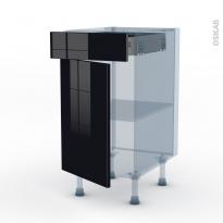 KERIA Noir - Kit Rénovation 18 - Meuble bas cuisine  - 1 porte 1 tiroir - L40xH70xP60