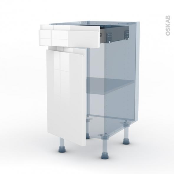 IPOMA Blanc brillant - Kit Rénovation 18 - Meuble bas cuisine  - 1 porte 1 tiroir - L40xH70xP60