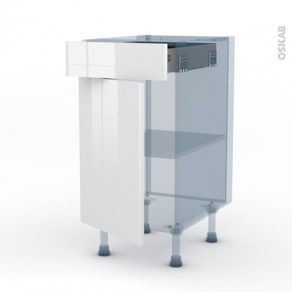 STECIA Blanc - Kit Rénovation 18 - Meuble bas cuisine  - 1 porte 1 tiroir - L40xH70xP60
