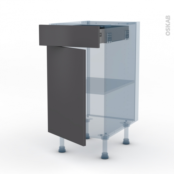 GINKO Gris - Kit Rénovation 18 - Meuble bas cuisine  - 1 porte 1 tiroir - L40xH70xP60