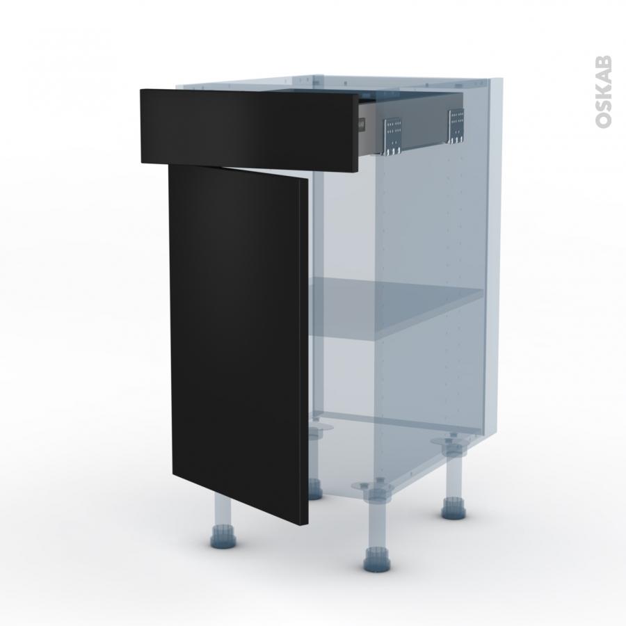 Ginko noir kit r novation 18 meuble bas cuisine 1 porte 1 for Meuble bas cuisine noir