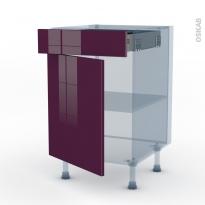 KERIA Aubergine - Kit Rénovation 18 - Meuble bas cuisine  - 1 porte 1 tiroir - L50xH70xP60