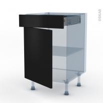GINKO Noir - Kit Rénovation 18 - Meuble bas cuisine  - 1 porte 1 tiroir - L50xH70xP60