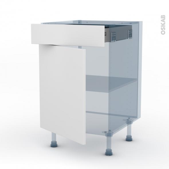 GINKO Blanc - Kit Rénovation 18 - Meuble bas cuisine - 1 porte 1 tiroir - L50xH70xP60