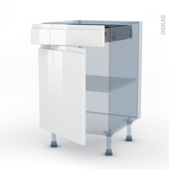 IPOMA Blanc - Kit Rénovation 18 - Meuble bas cuisine  - 1 porte 1 tiroir - L50xH70xP60