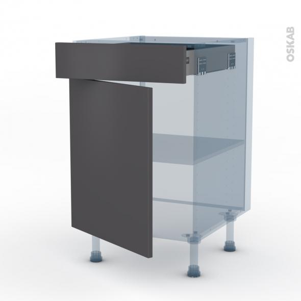 GINKO Gris - Kit Rénovation 18 - Meuble bas cuisine  - 1 porte 1 tiroir - L50xH70xP60