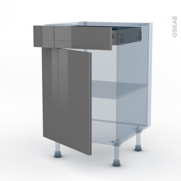 STECIA Gris - Kit Rénovation 18 - Meuble bas cuisine  - 1 porte 1 tiroir - L50xH70xP60