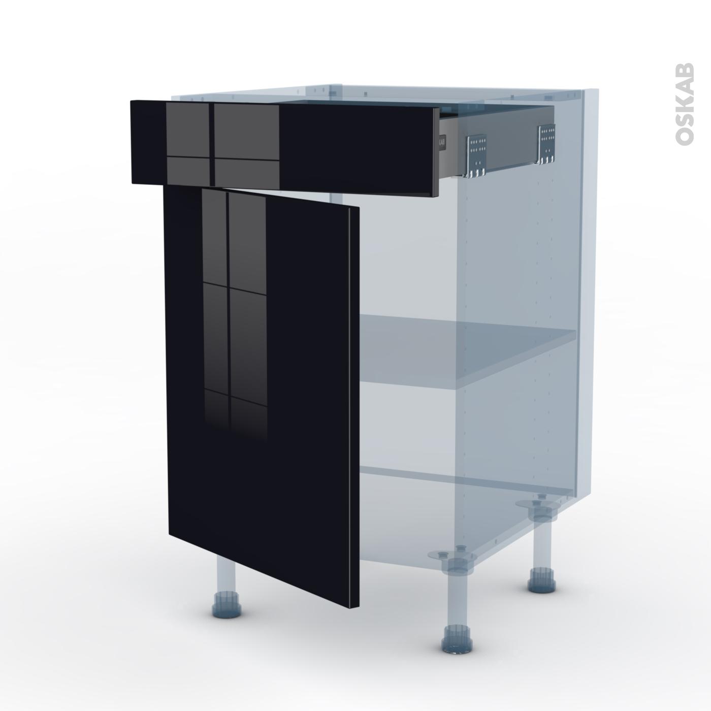 Meuble Cuisine Noir Pas Cher keria noir kit rénovation 18 meuble bas cuisine , 1 porte 1 tiroir,  l50xh70xp60