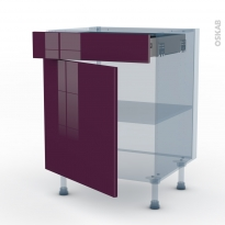 KERIA Aubergine - Kit Rénovation 18 - Meuble bas cuisine  - 1 porte 1 tiroir - L60xH70xP60