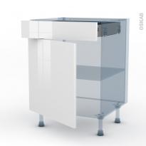 STECIA Blanc - Kit Rénovation 18 - Meuble bas cuisine  - 1 porte 1 tiroir - L60xH70xP60
