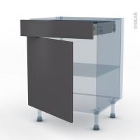 GINKO Gris - Kit Rénovation 18 - Meuble bas cuisine  - 1 porte 1 tiroir - L60xH70xP60