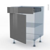 STECIA Gris - Kit Rénovation 18 - Meuble bas cuisine  - 1 porte 1 tiroir - L60xH70xP60