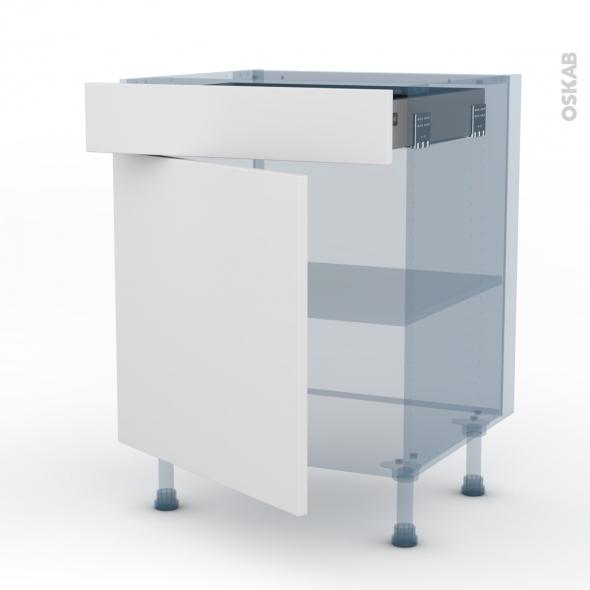 GINKO Blanc - Kit Rénovation 18 - Meuble bas cuisine - 1 porte 1 tiroir - L60xH70xP60
