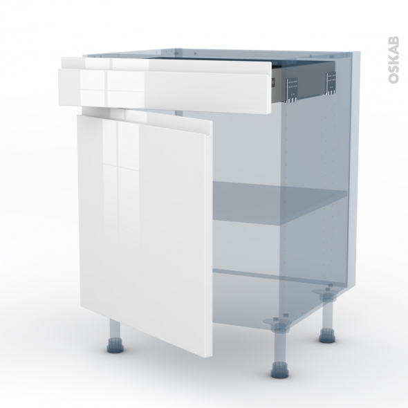 IPOMA Blanc - Kit Rénovation 18 - Meuble bas cuisine  - 1 porte 1 tiroir - L60xH70xP60