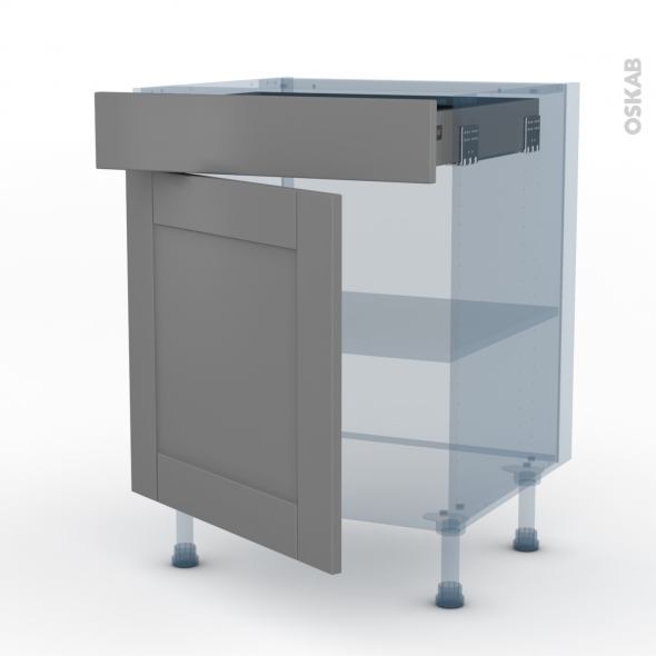 Filipen Gris Kit Renovation 18 Meuble Bas Cuisine 1 Porte 1 Tiroir L60xh70xp60 Oskab