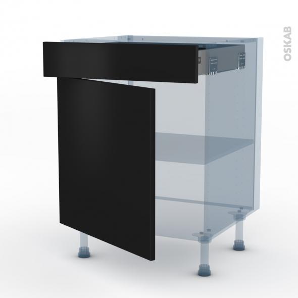 GINKO Noir - Kit Rénovation 18 - Meuble bas cuisine  - 1 porte 1 tiroir - L60xH70xP60