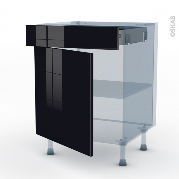 KERIA Noir - Kit Rénovation 18 - Meuble bas cuisine  - 1 porte 1 tiroir - L60xH70xP60