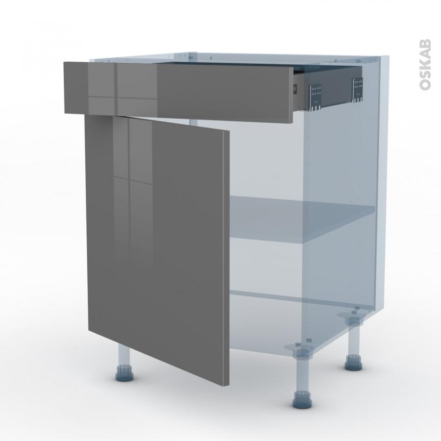 Stecia gris kit r novation 18 meuble bas cuisine 1 porte 1 for Kit meuble cuisine