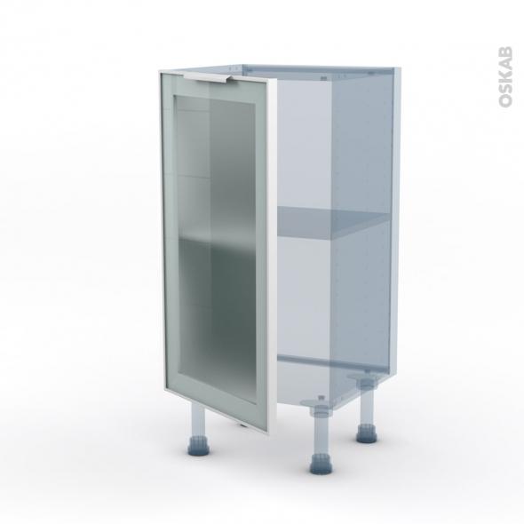 SOKLEO - Façade alu blanc vitrée - Kit Rénovation 18 - Meuble bas prof.37  - 1 porte - L40xH70xP37,5
