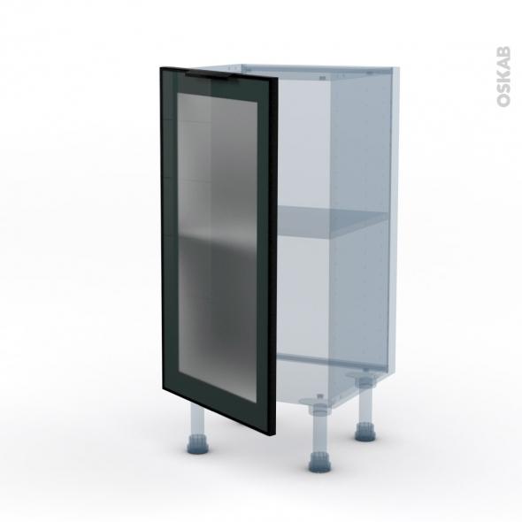 SOKLEO - Façade alu noir vitrée - Kit Rénovation 18 - Meuble bas prof.37  - 1 porte - L40xH70xP37,5