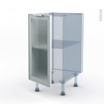 SOKLEO - Façade alu blanc vitrée - Kit Rénovation 18 - Meuble bas cuisine  - 1 porte - L40xH70xP60