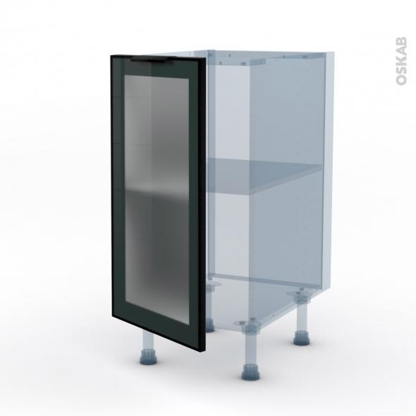 SOKLEO - Façade alu noir vitrée - Kit Rénovation 18 - Meuble bas cuisine  - 1 porte - L40xH70xP60