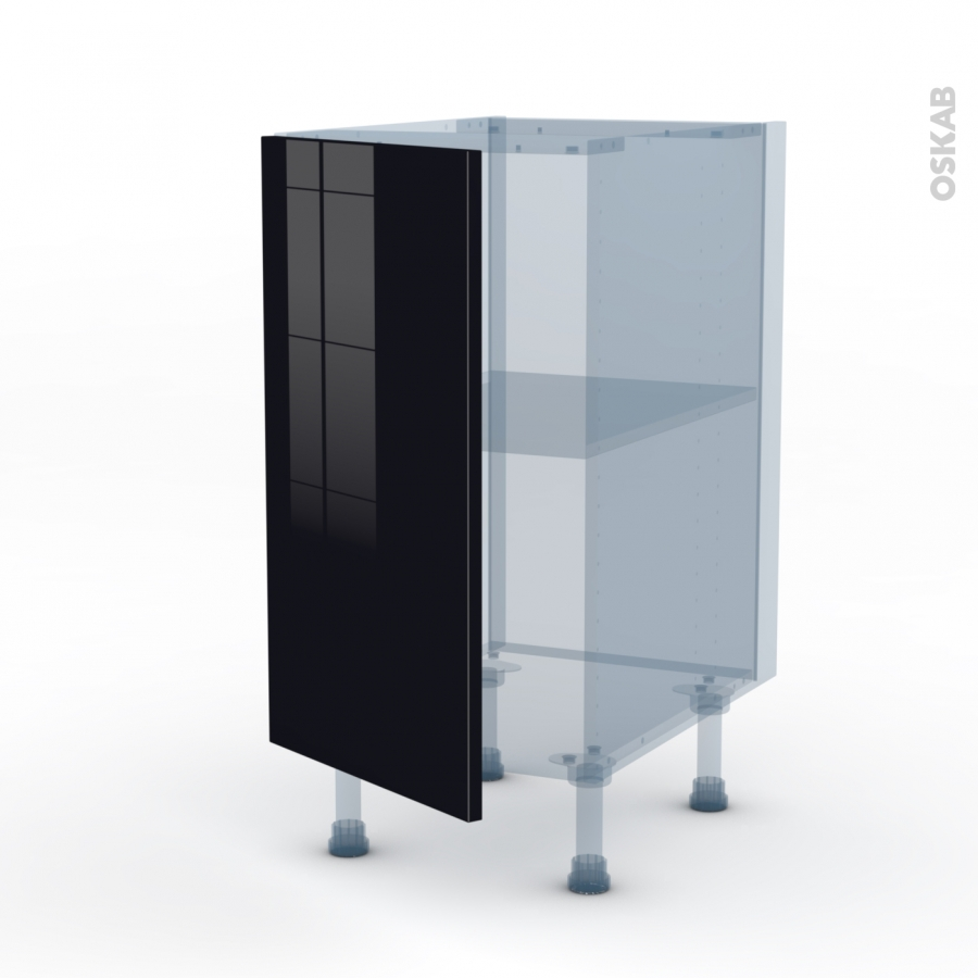 Keria noir kit r novation 18 meuble bas cuisine 1 porte for Porte cuisine 60 x 30