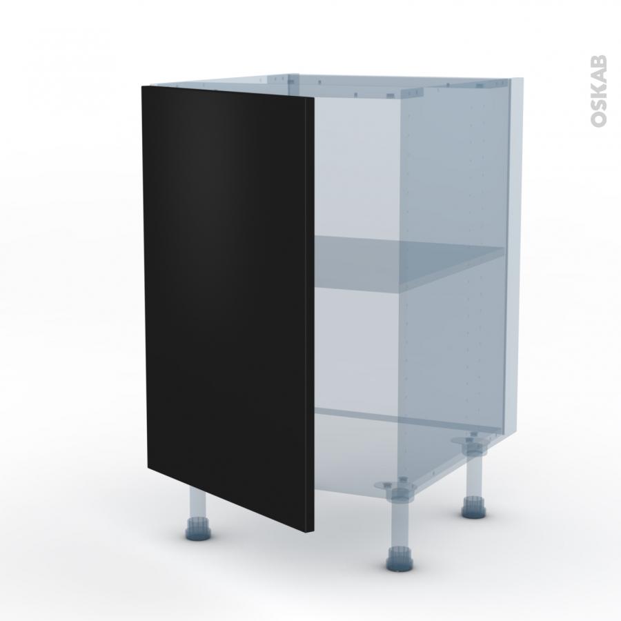 Ginko noir kit r novation 18 meuble bas cuisine 1 porte for Meuble cuisine 50 x 60