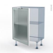 SOKLEO - Façade alu blanc vitrée - Kit Rénovation 18 - Meuble bas prof.37  - 1 porte - L60xH70xP37,5