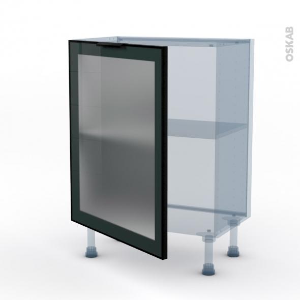 SOKLEO - Façade alu noir vitrée - Kit Rénovation 18 - Meuble bas prof.37  - 1 porte - L60xH70xP37,5
