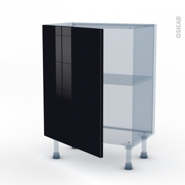 KERIA Noir - Kit Rénovation 18 - Meuble bas prof.37  - 1 porte - L60xH70xP37,5