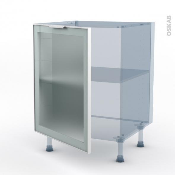 SOKLEO - Façade alu blanc vitrée - Kit Rénovation 18 - Meuble bas cuisine  - 1 porte - L60xH70xP60
