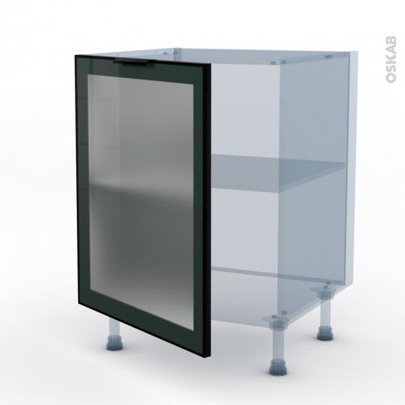 SOKLEO - Façade alu noir vitrée - Kit Rénovation 18 - Meuble bas cuisine  - 1 porte - L60xH70xP60