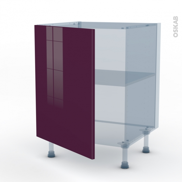 KERIA Aubergine - Kit Rénovation 18 - Meuble bas cuisine  - 1 porte - L60xH70xP60