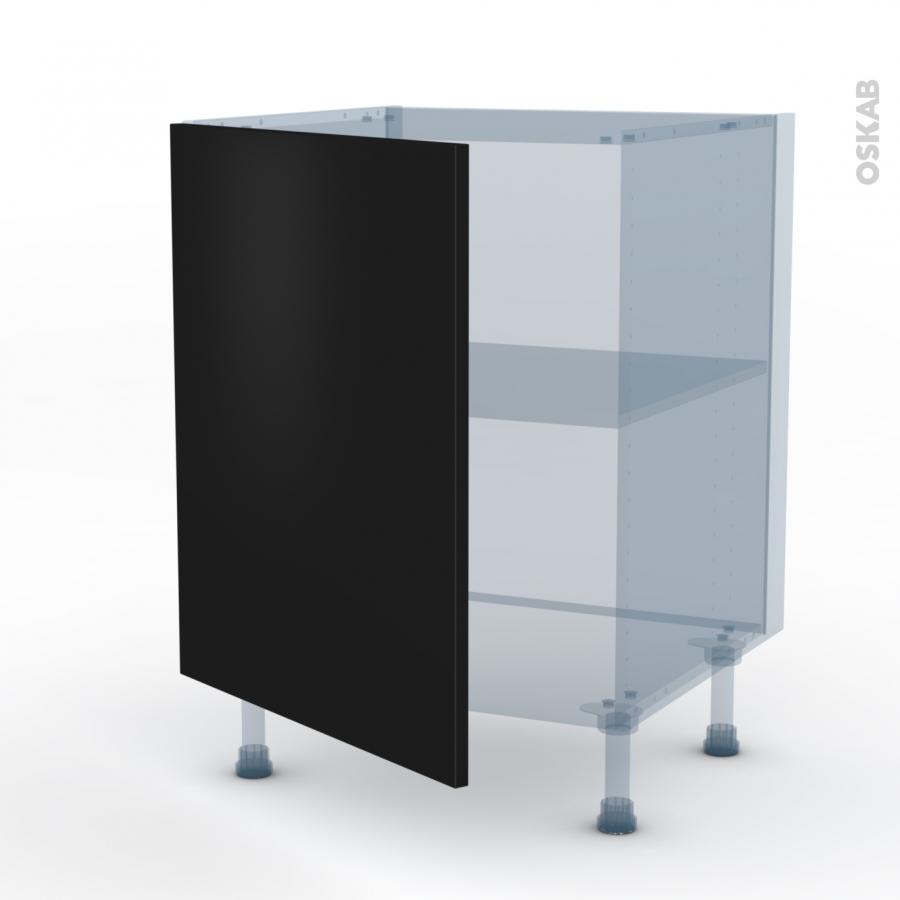 Ginko noir kit r novation 18 meuble bas cuisine 1 porte for Porte cuisine 60 x 30