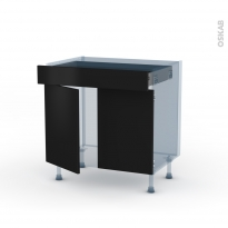 GINKO Noir - Kit Rénovation 18 - Meuble bas cuisine  - 2 portes 1 tiroir - L80xH70xP60