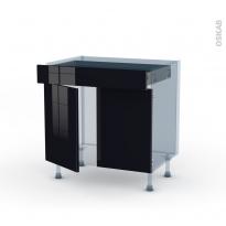 KERIA Noir - Kit Rénovation 18 - Meuble bas cuisine  - 2 portes 1 tiroir - L80xH70xP60