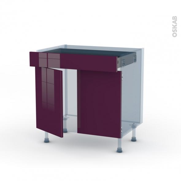 KERIA Aubergine - Kit Rénovation 18 - Meuble bas cuisine  - 2 portes 1 tiroir - L80xH70xP60
