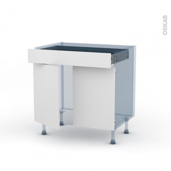 GINKO Blanc - Kit Rénovation 18 - Meuble bas cuisine - 2 portes 1 tiroir - L80xH70xP60