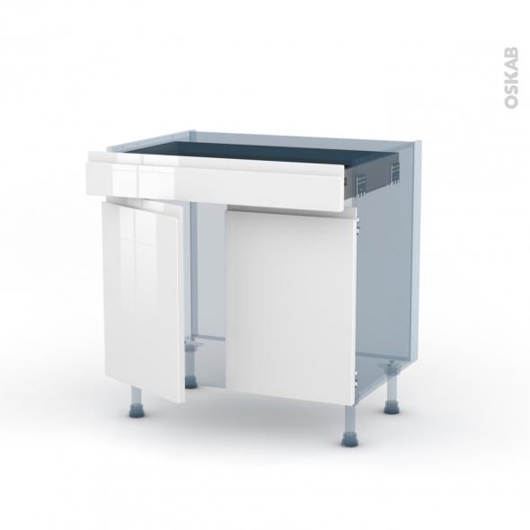 IPOMA Blanc - Kit Rénovation 18 - Meuble bas cuisine  - 2 portes 1 tiroir - L80xH70xP60