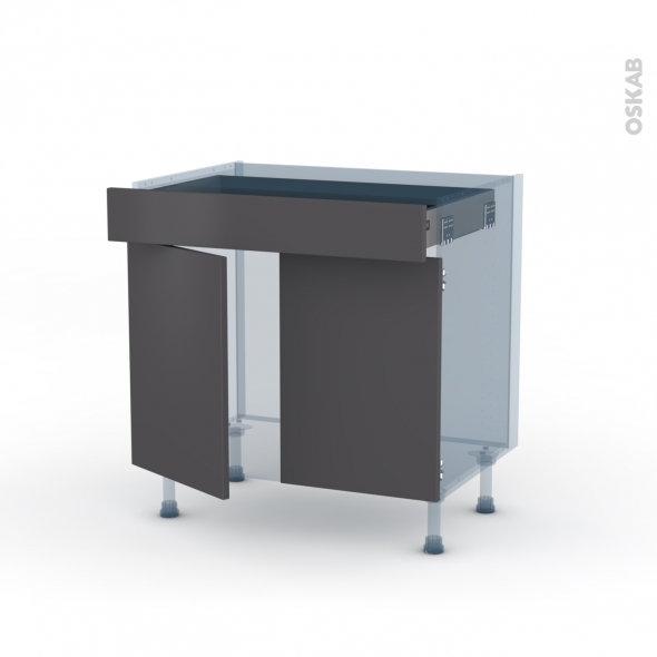 GINKO Gris - Kit Rénovation 18 - Meuble bas cuisine  - 2 portes 1 tiroir - L80xH70xP60